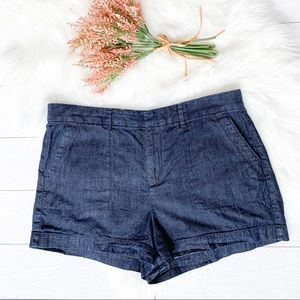 Ann Taylor Loft dark wash denim roll shorts